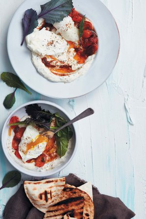 Turkish-style-eggs-with-harissa-tomato-and-chargrilled-flatbreads